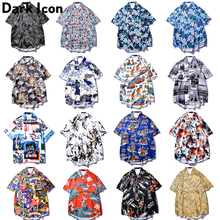 Dark Icon Full Printed Hawaii Shirts Men Turn-down Collar Street Hip Hop Oversized Mens Streetwear Clothing