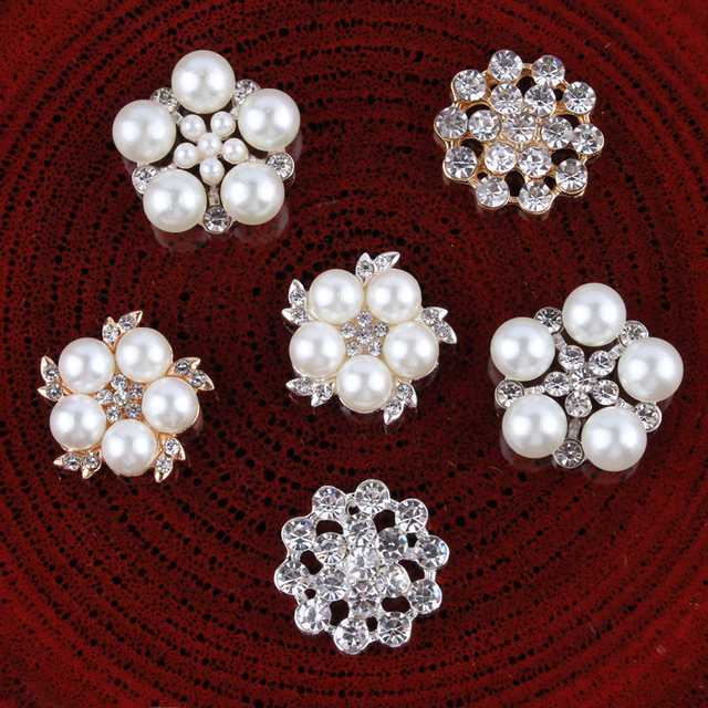 120PCS mix styles Vintage Handmade Flower Rhinestone Buttons Bling Flatback  Crystal Pearl Decorative Buttons Flower Center 14ff59f85053