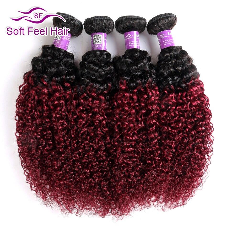 Soft Feel Hair 1B Burgundy Ombre Hair Bundles 99J Brazilian Kinky Curly Hair Weave Bundles Red
