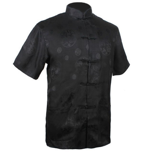 New Arrival Black Chinese Men's Silk Satin Kung Fu Shirt Hombre Camisa Summer Short-sleeve Clothing Size S M L XL XXL XXXL M0016