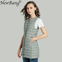 NewBang Matt Fabric Women's Long Vest Ultra Light Down Vest Women Waistcoat Female Down Coat Slim Sleeveless Without Collar