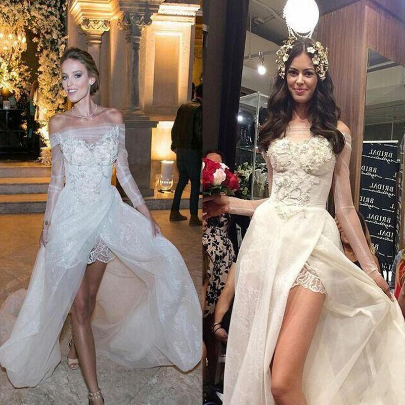 Garden Wedding Gowns: Charming Off The Shoulder Wedding Dress High Low Garden