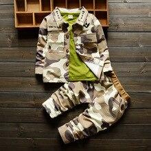 Boy's sport suit 2016 children spring/autumn new camouflage printed cotton suit boy's coat + long sleeve T-shirt+pants 3PCS suit