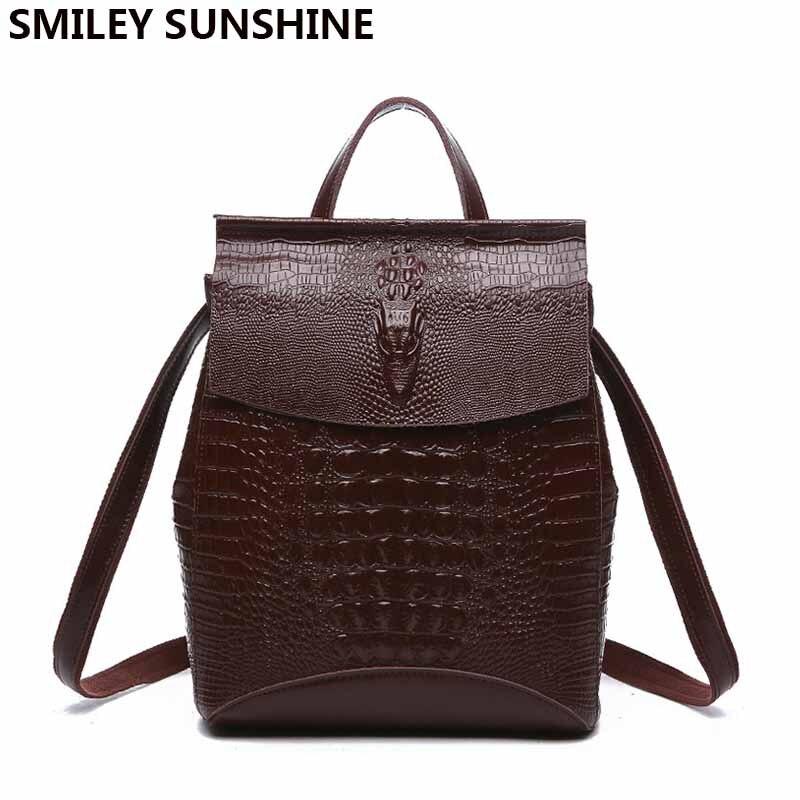 SMILEY SOLEIL imprimé crocodile véritable cuir femmes sac à dos sacs à dos pour filles adolescents dames épaule sac à dos femelle