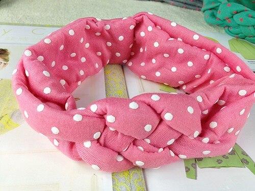 Милое в горошек, банты для девочек, повязка на голову, плетеная повязка на голову для детей, детские аксессуары для волос, 12 шт./партия