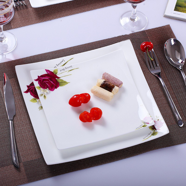 white large porcelain square plate dish European style bone china Western food buffet fruit dishes dinner & white large porcelain square plate dish European style bone china ...