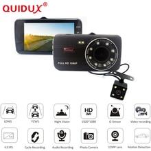 Quidux 4.0 дюймов IPS Экран 8LED огни Видеорегистраторы для автомобилей камеры заднего вида с двумя объективами Камера oncam тире Камера Full HD 1080 P видео регистраторы