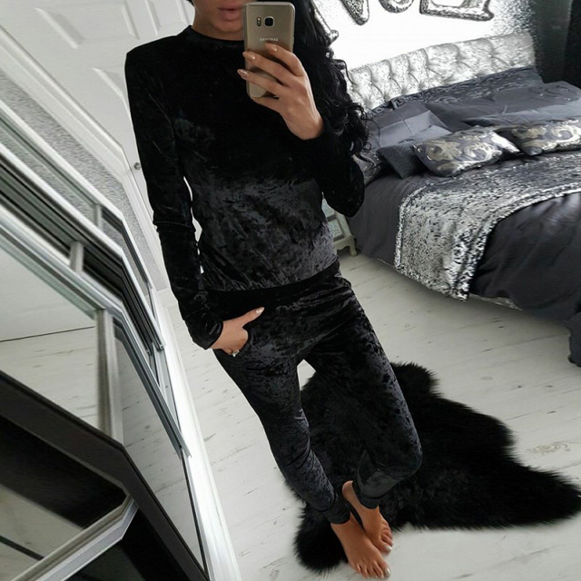 Free Shipping fashion women sets winter 2 piece set women warm suit women velvet plus thick fleece two-piece autumn winter suit