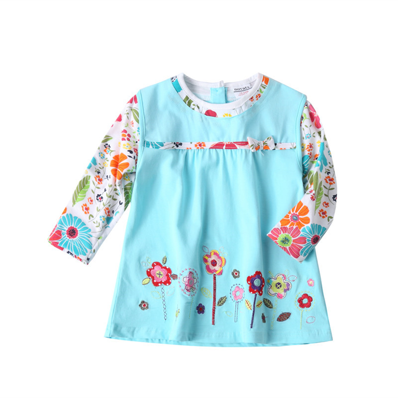 novatx H2762 baby girls long sleeve flower dress children clothes frocks autumn/spring child wear floral dress girl high quality children s spring and autumn girls bow plaid child children s cotton long sleeved dress baby girl clothes 2 3 4 5 6 7 years