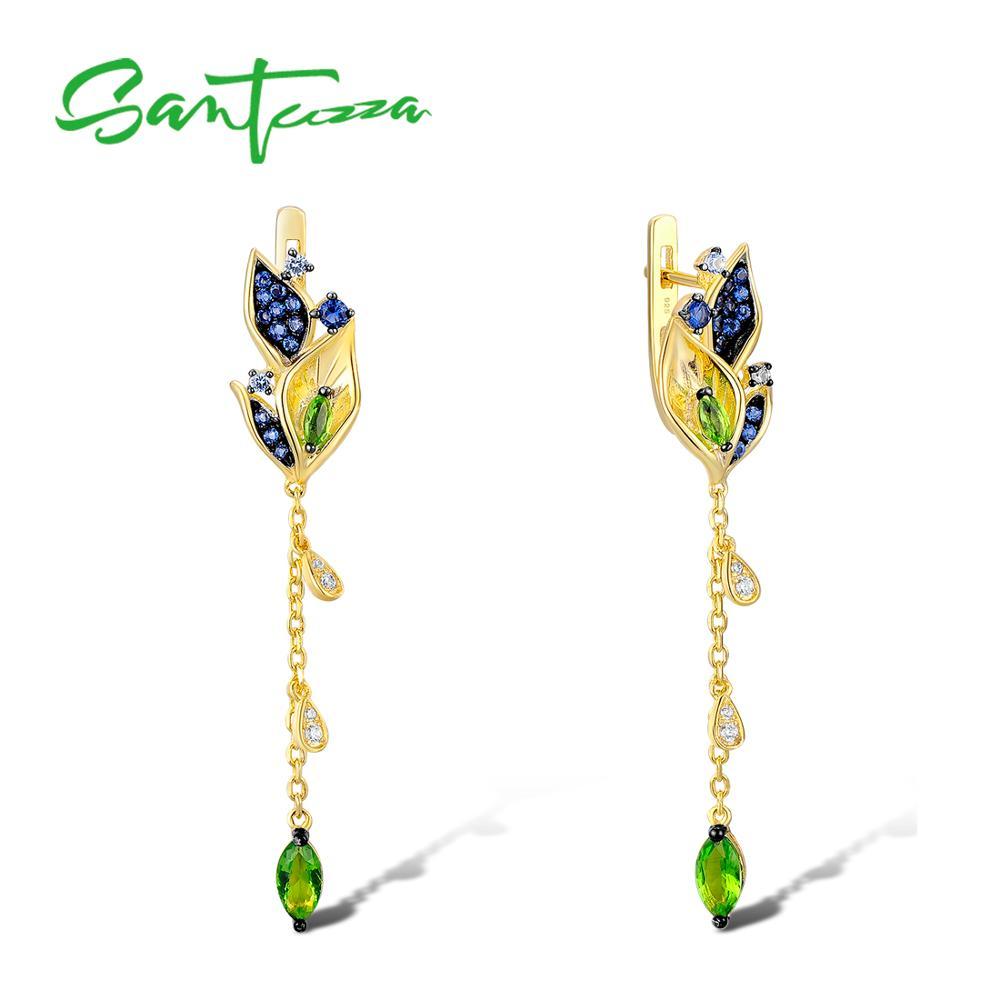 SANTUZZA Silver Earrings For Women 925 Sterling Silver Leaves Drop Earrings Gold Color Blue Nano Cubic Zirconia Fashion Jewelry fancy blue cubic zirconia 925 sterling silver drop dangle earrings for women s0209