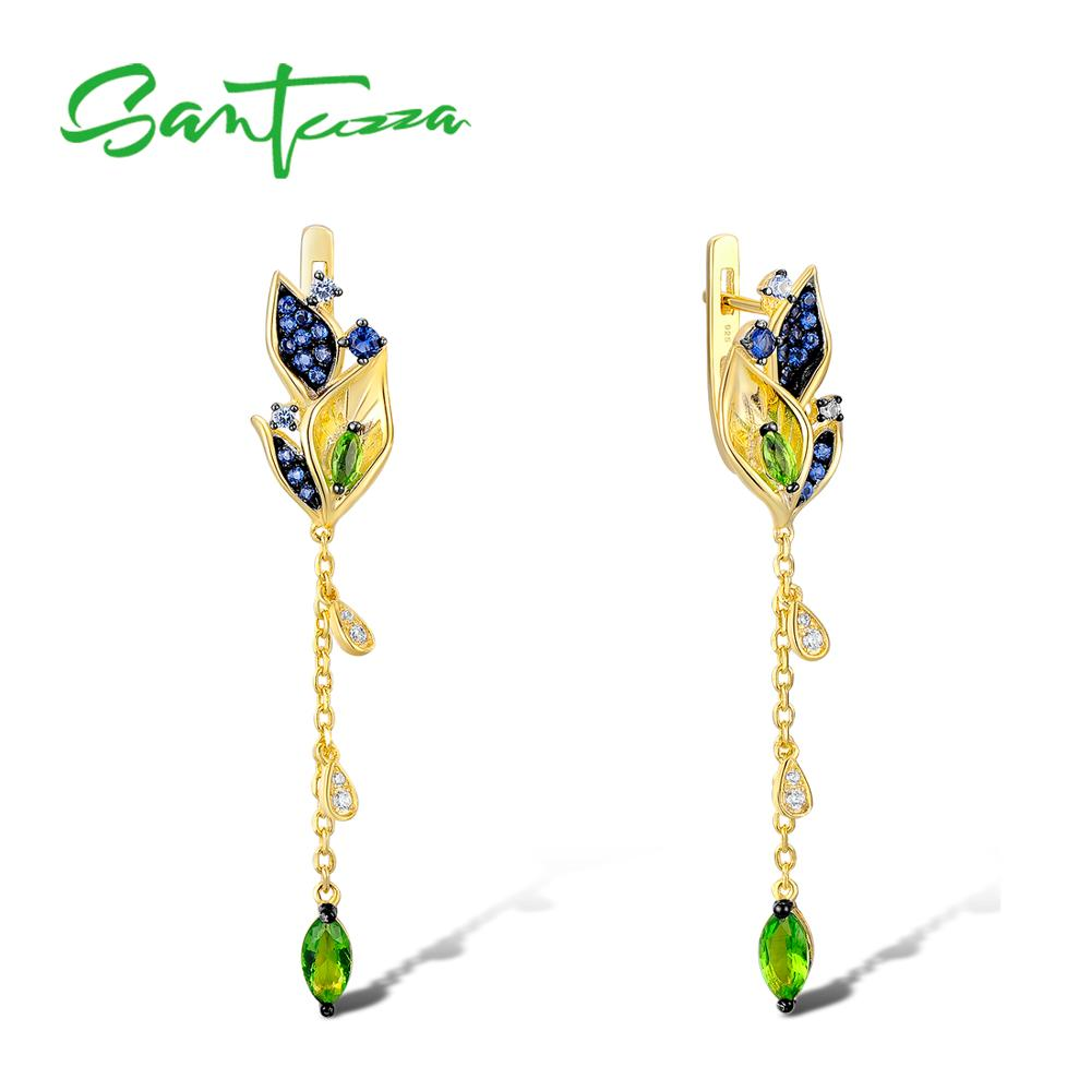 SANTUZZA Silver Earrings For Women 925 Sterling Silver Leaves Drop Earrings Gold Color Blue Nano Cubic Zirconia Fashion Jewelry