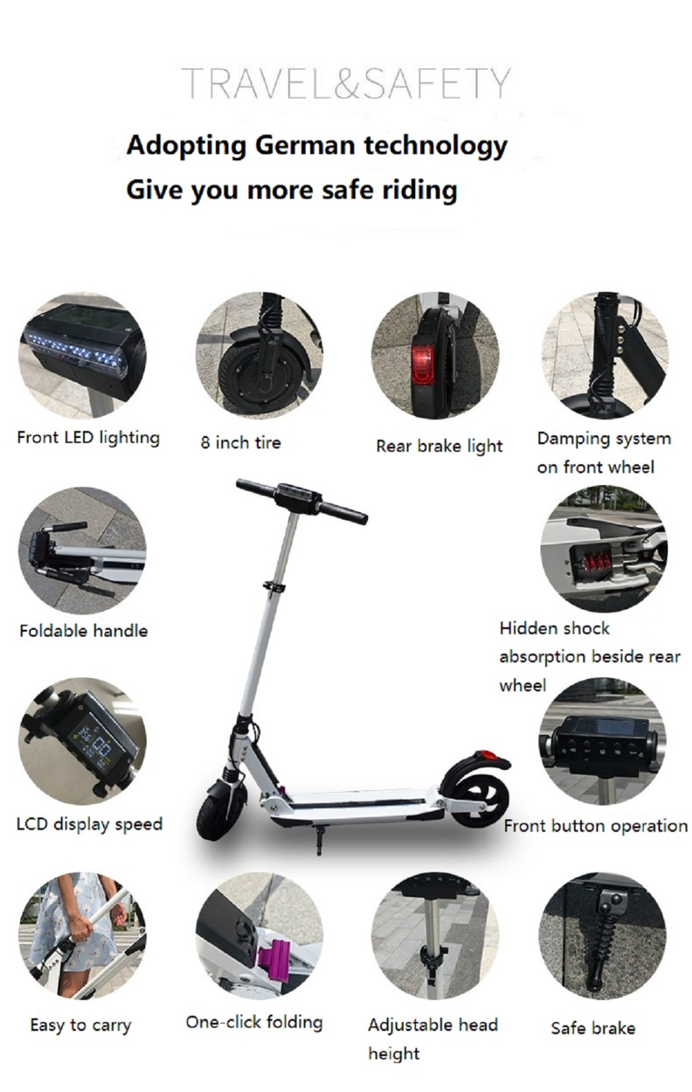 Discount SUPERTEFF EW4 electric scooter LCD display 8 inch 350W electric bike smart two-wheel skateboard scooter for adults folding 7