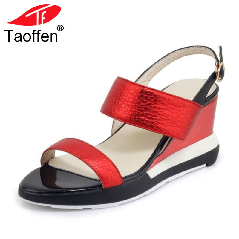 TAOFFEN Women High Heel Sandals Real Leather Buckle Women Summer Shoes Classic Women Sandals Vacation Footwear Size 34-39 taoffen women high heels sandals real leather peep toe shoes women buckle clear thick heel sandals daily footwear size 34 39