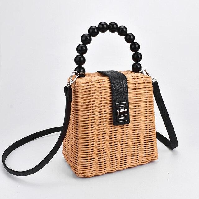 Bead Handwoven Straw Bag...