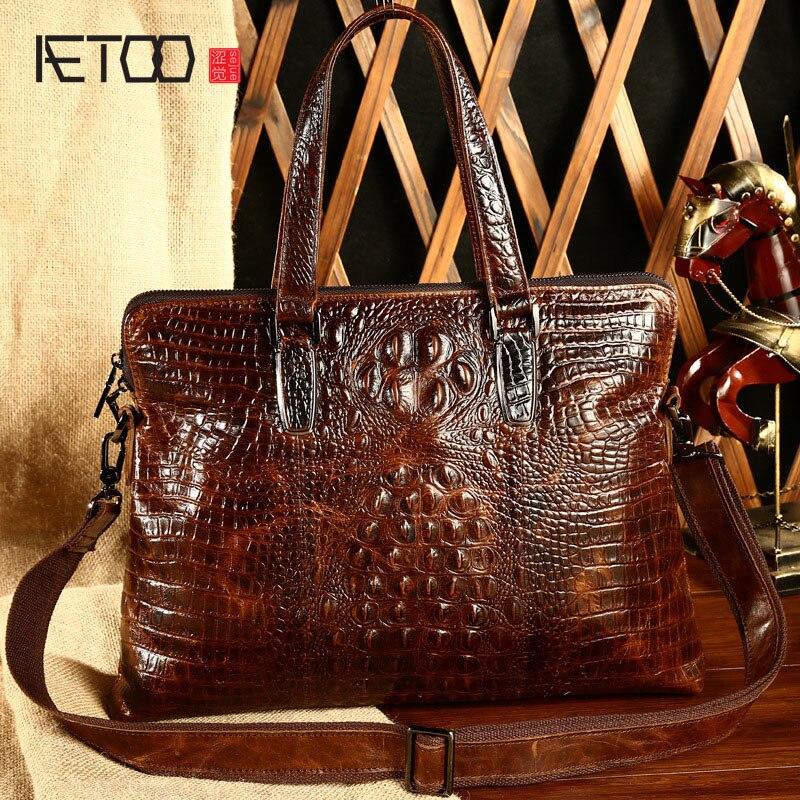 AETOO 2019 new crocodile embossed leather bag man business handbag Crossbody leather briefcase