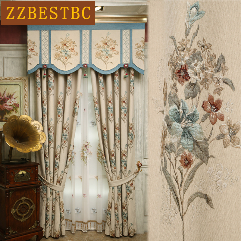 American top luxury villa chenille jacquard blackout curtains for living room windows high quality elegant bedroom