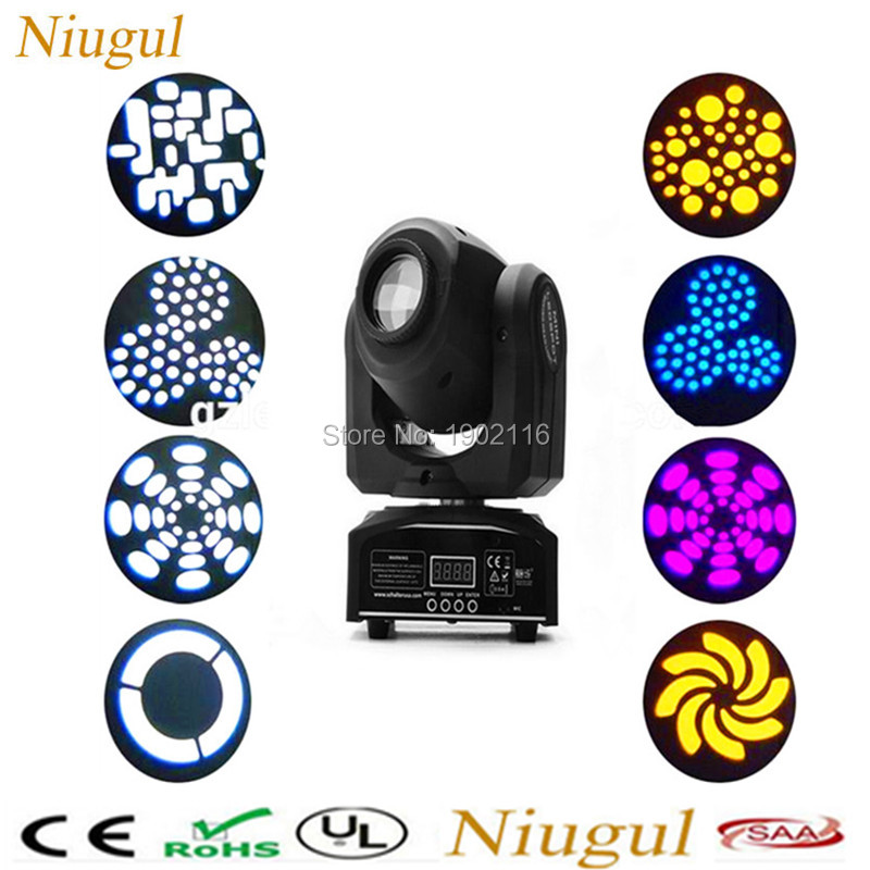 Niugul 30w DMX mini gobo projector spot led moving head High quality 30W Party disco ktv stage light factory sale Fast Shipping high quality mini 10w led spot moving head 7 gobo stage light disco dj dmx512 rgbw stage effect projector stereotypes packaged