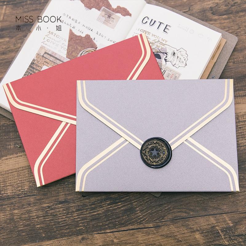5pcs/lot Exquisite Bronzing Western Envelopes Greeting Card Gift Packaging Vintage Envelopes For Wedding Invitation