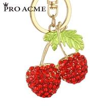 Pro Acme Fashion Cherry Crystal Keychain Purse Bag Buckle HandBag For Car Keyring Holder Women Key