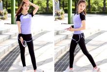 2 in 1 Sport Costumes for women Yoga suit Sports bra  sleeve t shirt Running Sport Long Pants Quick dry Yoga Set