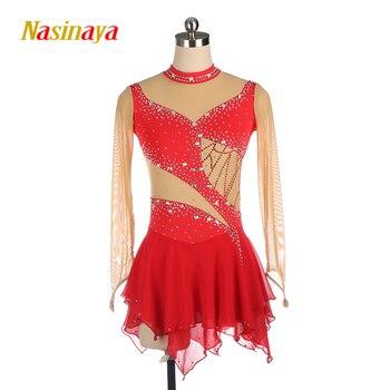 Nasinaya الشكل التزلج اللباس تخصيص المنافسة الجليد التزلج تنورة ل فتاة النساء الاطفال الجمباز الأداء الظلام شبكة