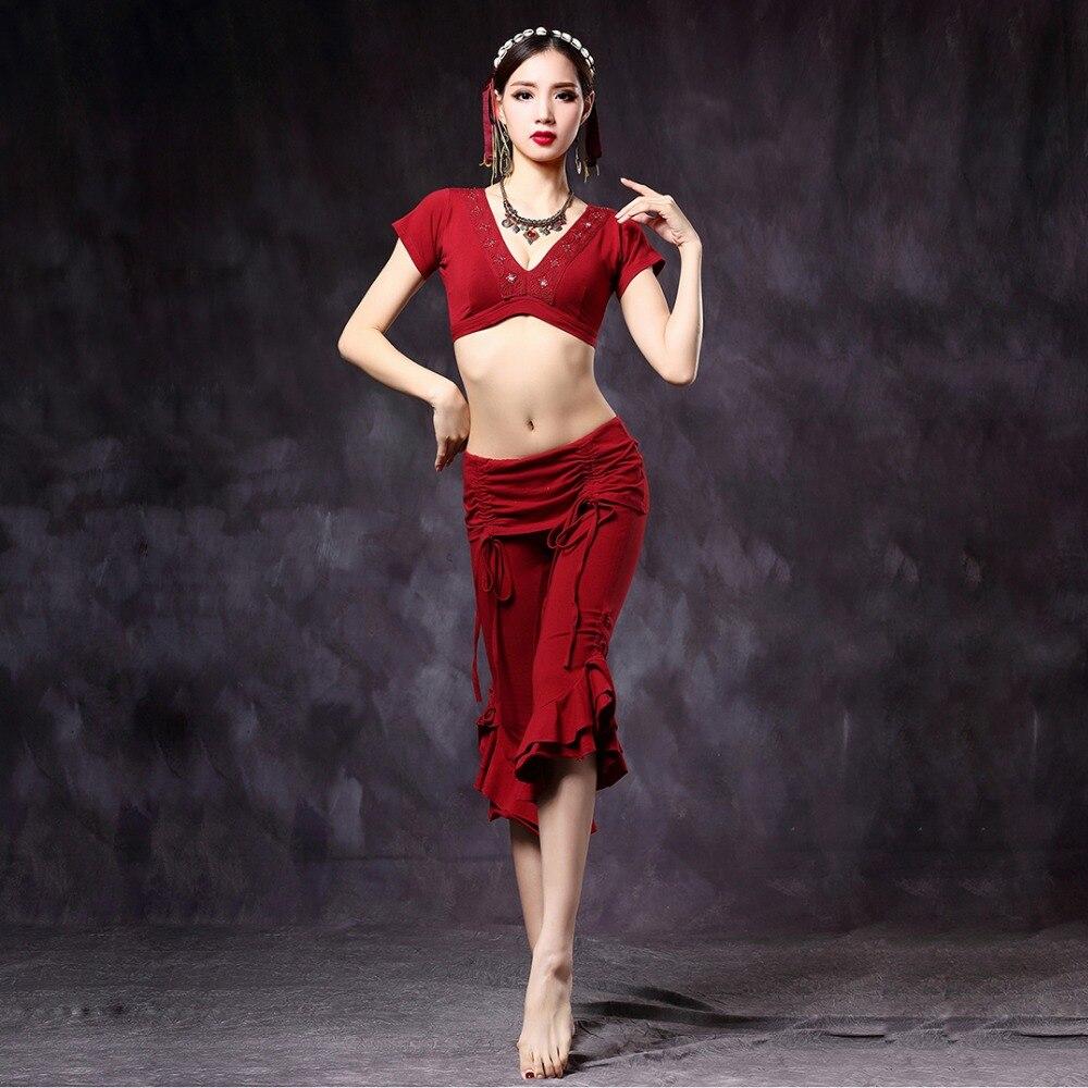 2019 Tribal Belly Dance Women V neck Choli Tops and Pants