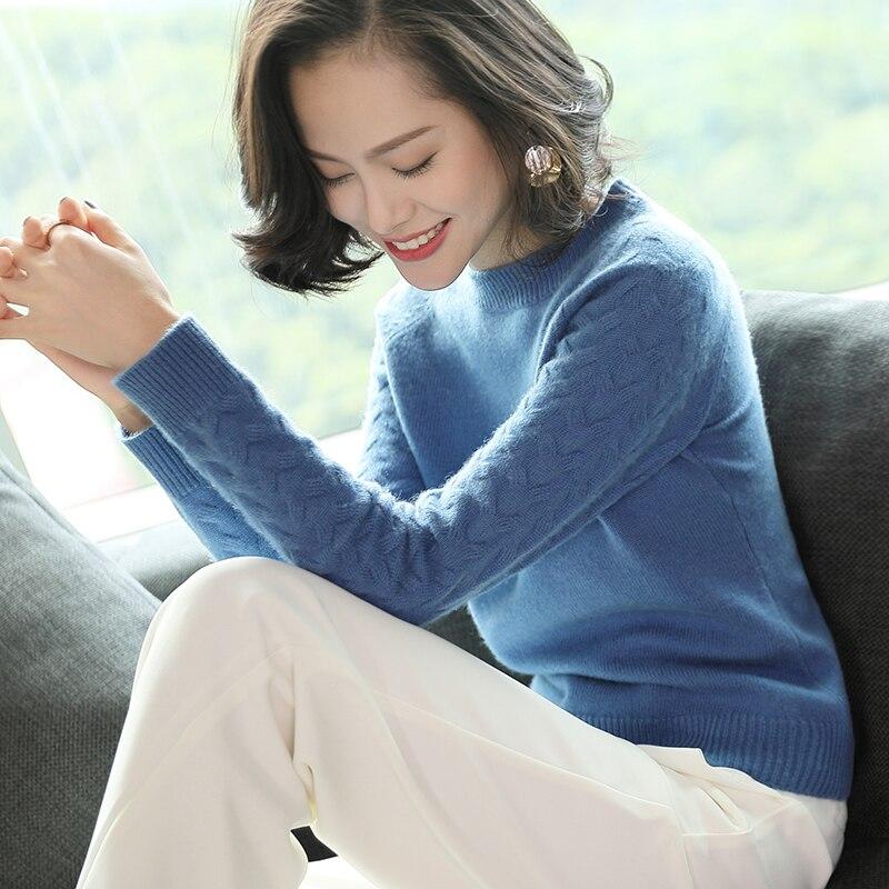 Col blanc Bleu Roulé Femmes Lâche Marque High Fashion Pull Confortable 100 Tricoté Oversize Dames vert En New Chandail Cavalier rose Cachemire Hiver UnqwgXYB1w