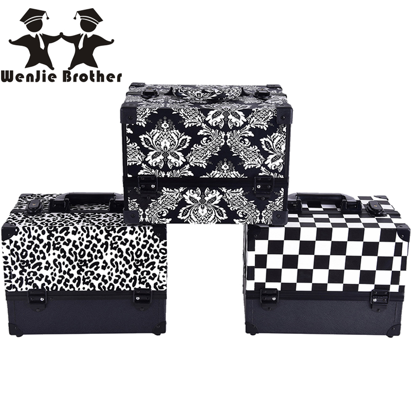 wenjie brother Leopard checks leaves ABS&PU Make up Box Makeup Case Beauty Case Cosmetic Bag Multi Tiers Lockable Jewelry Box t art блузка