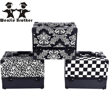 wenjie brother Leopard checks leaves ABS&PU Make up Box Makeup Case Beauty Case Cosmetic Bag Multi Tiers Lockable Jewelry Box