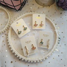 Korea Handmade Cartoon Planet Simulated pearl Women Drop Earrings Dangle Fashion Jewelry Accessories-JQD5