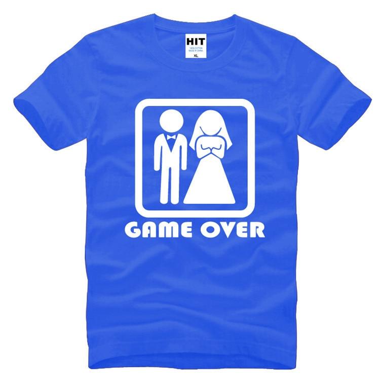GAME OVER Laulība Kāzu Humors Radošs Kāzu dāvana Vīriešu vīriešu T krekls T-krekls 2016 Jauns īsām piedurknēm O kakla ikdienas krekls