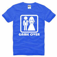 GAME OVER Marriage Wedding Humor Creative Wedding Gift Mens Men T Shirt T-shirt 2016 New Short Sleeve O Neck Casual Tshirt Tee