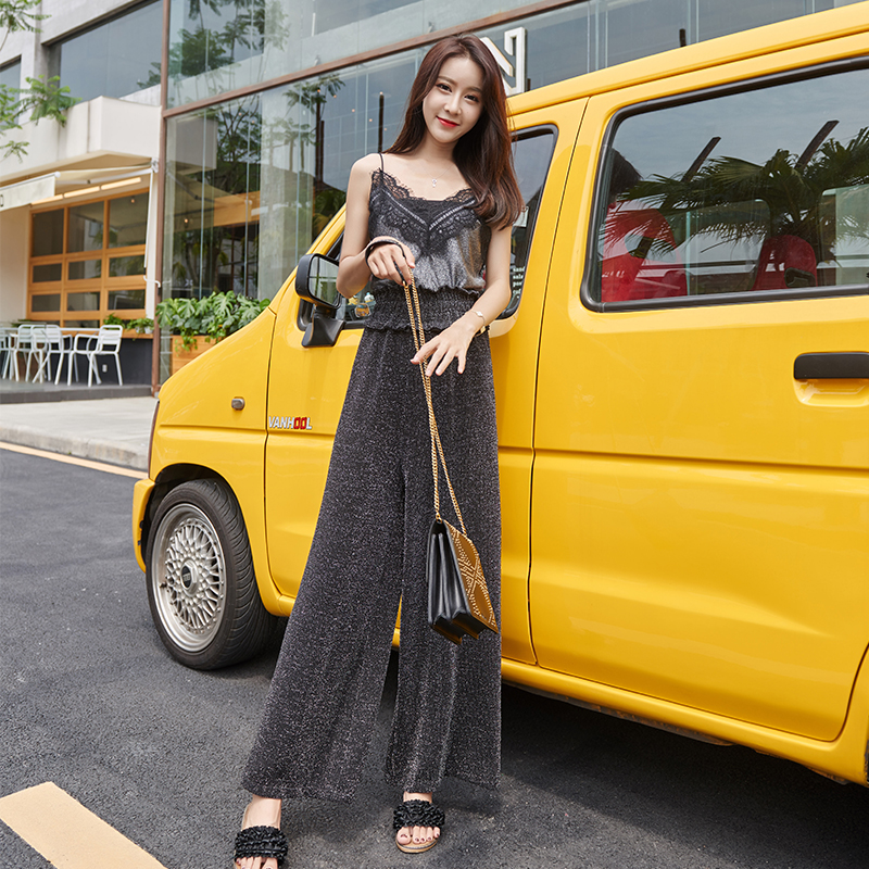 Womem   wide     leg     pants   2019 summer autumn fashion female vintage elegant elastic high waist casual loose   pant   glittery trousers
