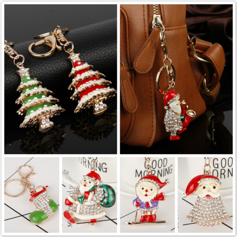 dongsheng Fashion Christmas Santa Claus Snowman Socks Christmans Tree Bells Pendants Keychain For Xmas Key Chain Decorations-50