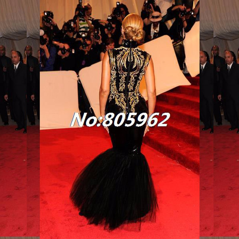 Custom-made-2014-Hot-Sexy-Beyonce-MET-Gala-Black-And-Gold-Embroidery-Beaded-Mermaid-Celebrity-Dresses (4)