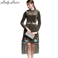 High Quality 2017 Spring Autumn Newest Designer Runway Dress Women S Velvet Bird Flower Embroidery Mesh