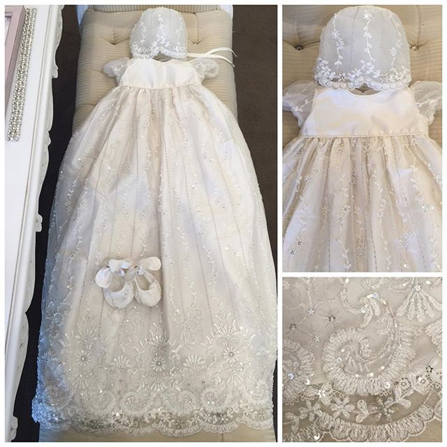 Baby Girls Christening Gown with Bonnet Long Infant Baptism Dresses