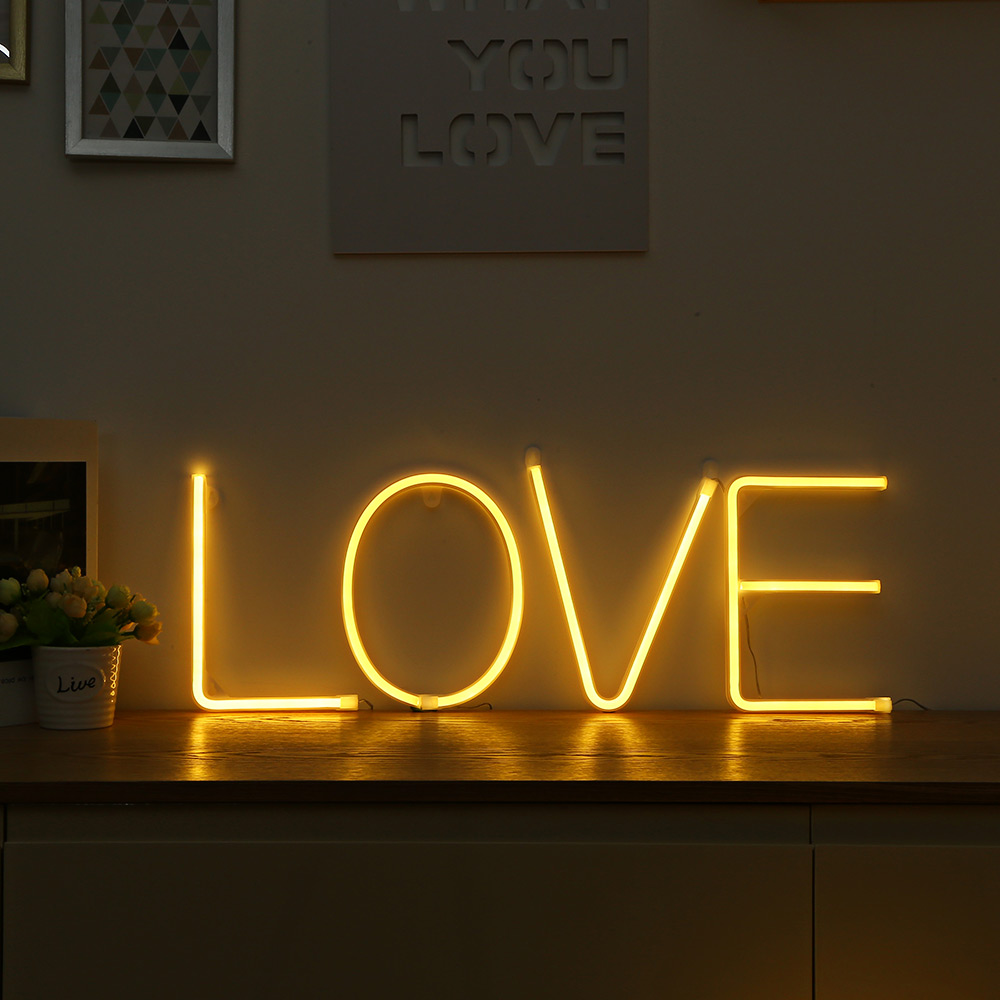 Led Neon Light Sign 26 Letters Shape Aa Battery Powered