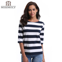 Miss Moly Womens O Neck Casual T Shirt Blue White Striped Printed Loose Half Long Sleeve