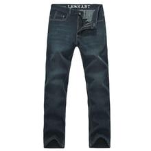Lesmart мужские деловые свободного покроя мода осень зима утолщенной завод бархатные теплые джинсы проветривайте флис длинные брюки джинсовые брюки