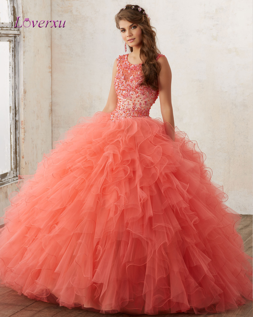 Ball Gown Long Sleeve Beaded Crystal Applique Watteau: Popular Plus Size Sweet 16 Dresses-Buy Cheap Plus Size