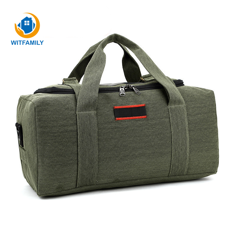 Large Capacity Canvas Travel Storage Package Clothes Bag Men Women Bag Handbags Clothes Shoes Organizer Portable Shoulder Bags