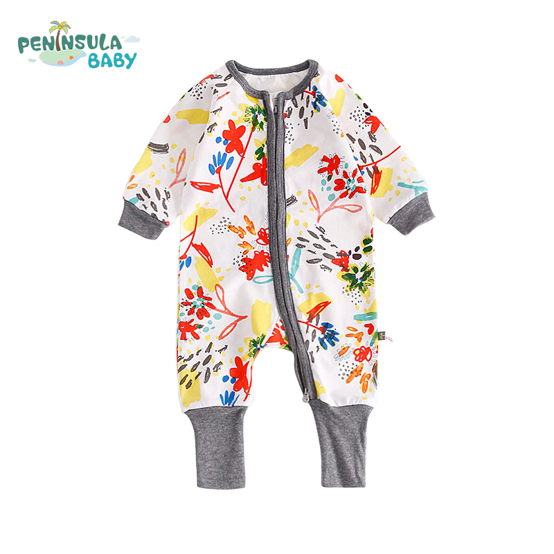 0-24M Newborn Girls Infant Jumpsuit Long Sleeve Printed Baby Rompers Autumn Cotton Casual Cute Toddler Boys Clothing Pajamas newborn baby girls rompers 100% cotton long sleeve angel wings leisure body suit clothing toddler jumpsuit infant boys clothes