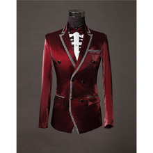 Mens double breasted blazer chaqueta traje hombre dress jackets for men costume homme burgundy blazer for men
