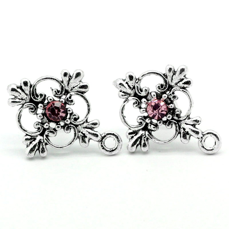 DoreenBeads Copper Earring Components Cross Antique Silver Red Flower Pattern Color Plated 19mm(6/8