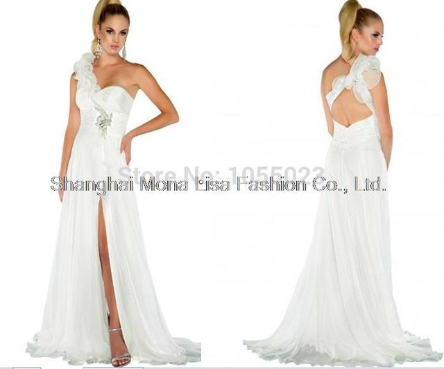 New Simple Pretty Chiffon One Shoulder Flower white Evening Dress ...