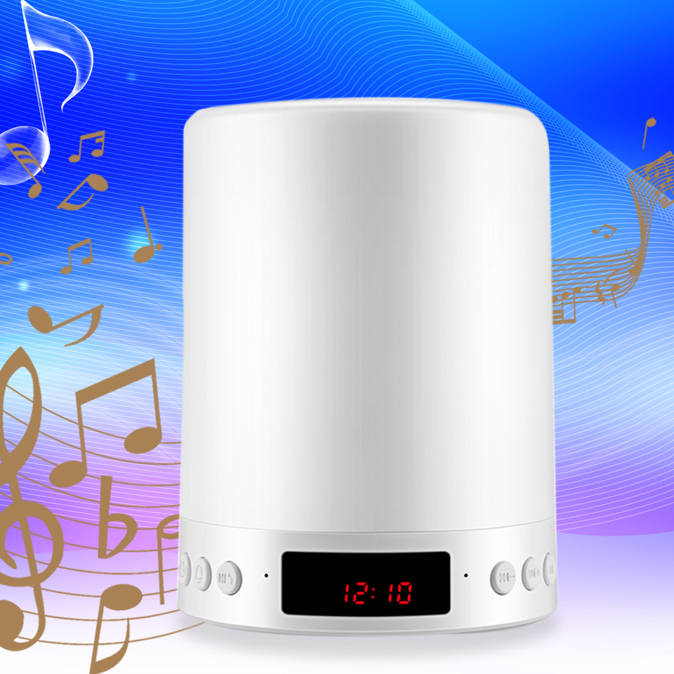 Wireless Mini Bluetooth Speaker LED Colorful Light Time Display Subwoofer Bluetooth Sound Box Card USB Column Luminous Speaker