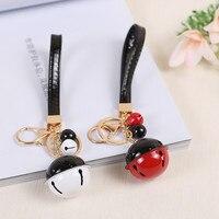 ILITAO 5pcs Christmas Bells Key Chains PU Wrist Rope Double Color Metallic Paint Ladies Keychain DIY