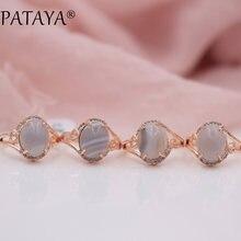 PATAYA 585 nueva moda oro rosa mujer encantadora lujo exquisito joyería Multicolor Piedra Natural ónix blanco anillos de circón