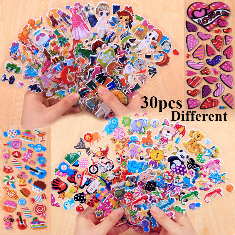 30 Different Sheets Cute Pet DIY Stickers Cartoon Stickers Toys Animal Girl Dress Up Flowers Emoji PVC Scrapbook Gifts For Kids fashion colorful flowers and riding girl pattern removeable wall stickers